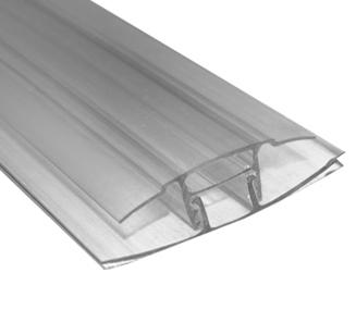 Perfil conector h clip 11 6m transparente en perfiles y - Plancha policarbonato transparente ...